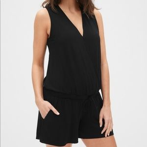 Maternity Sleeveless Knit Wrap-Front Romper